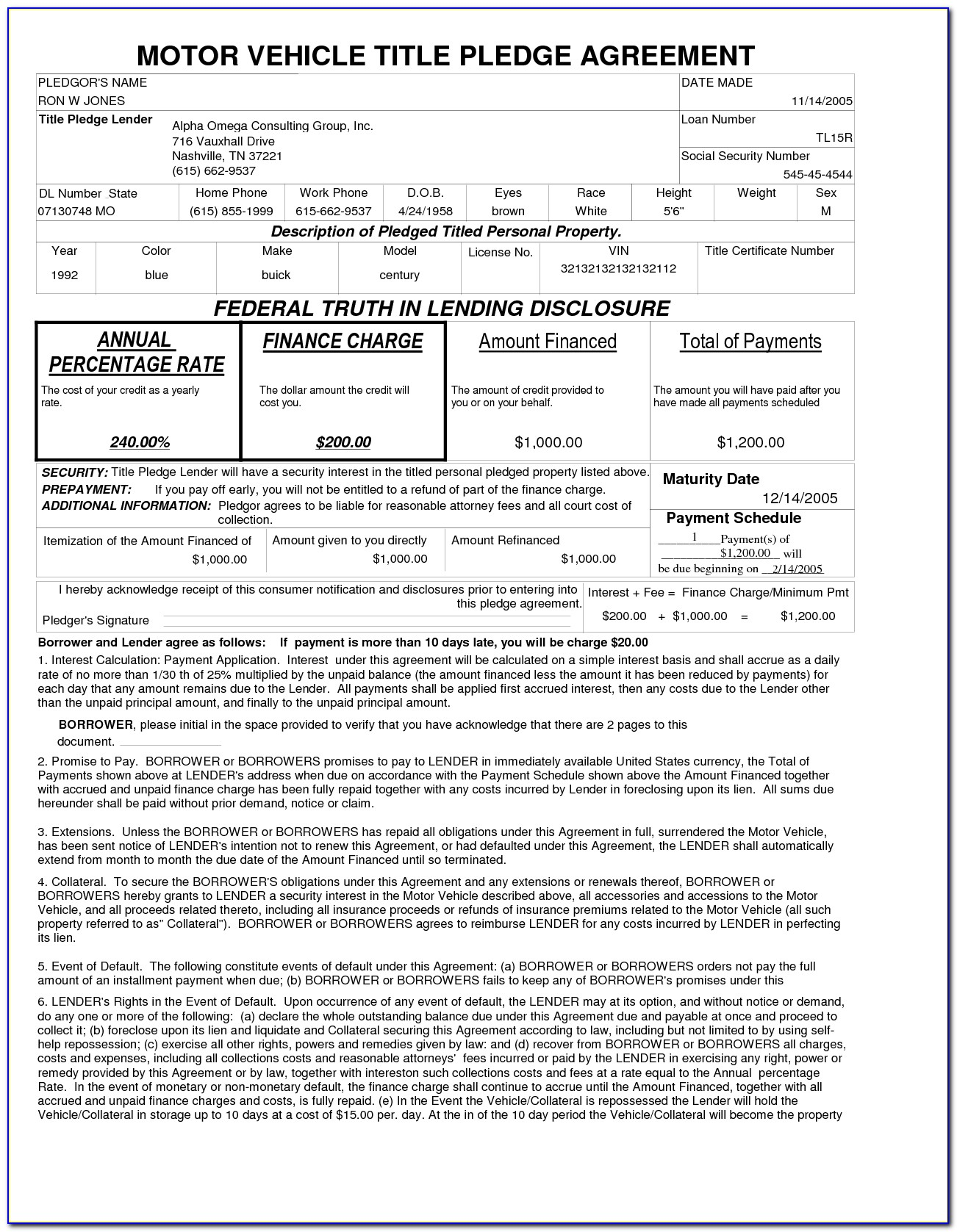 Retail Installment Contract And Security Agreement Forms