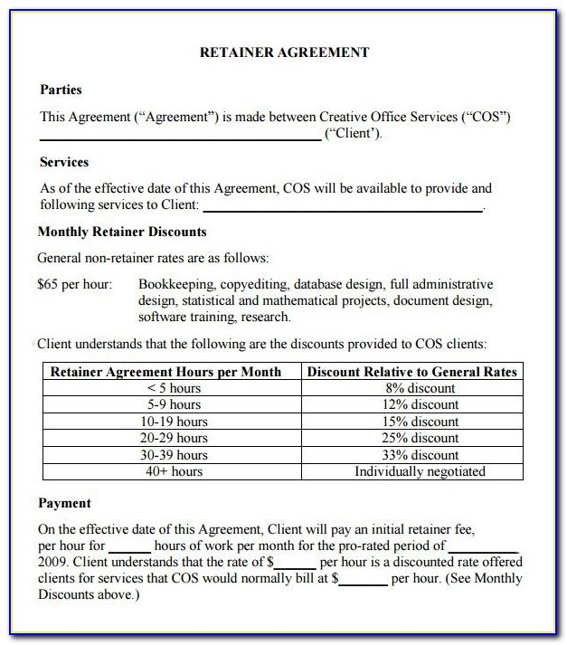 Retainer Agreement Template For Consulting Services