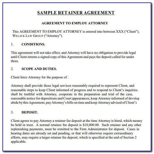 Retainer Agreement Template For Legal Services