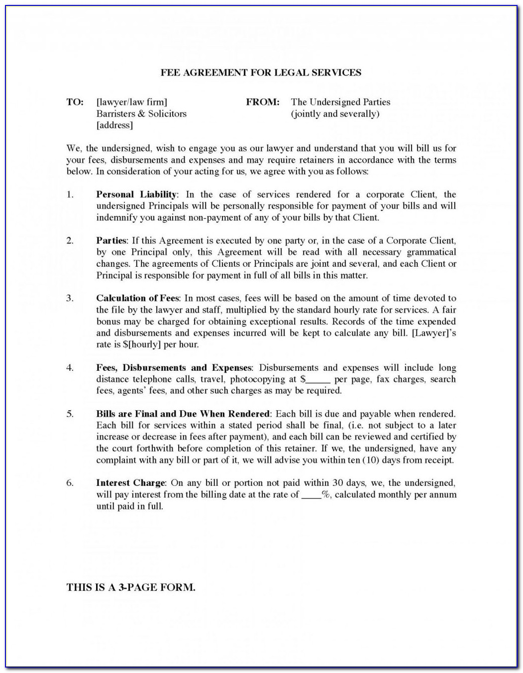 Retainer Contract Format