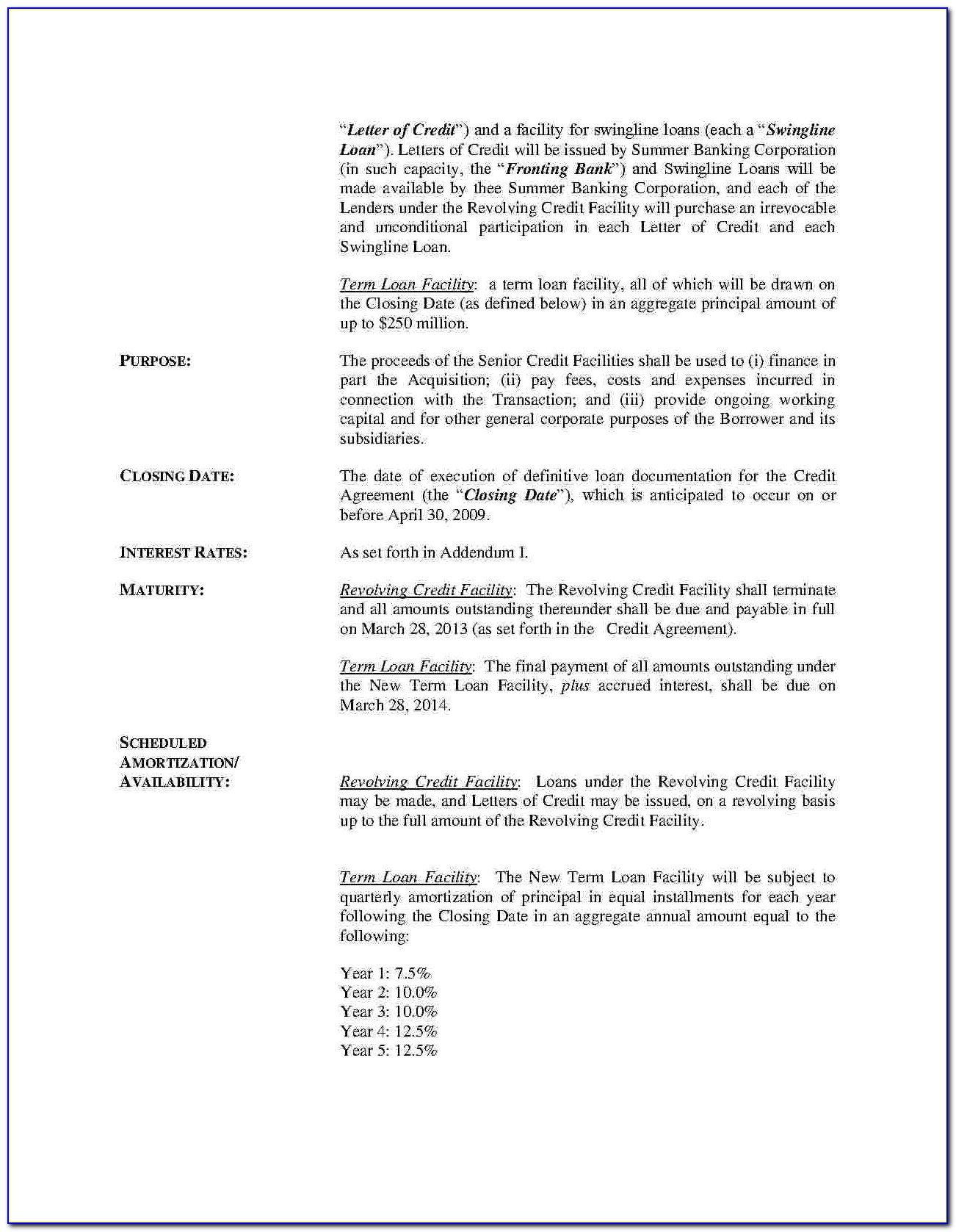 Revolving Credit Facility Agreement Template
