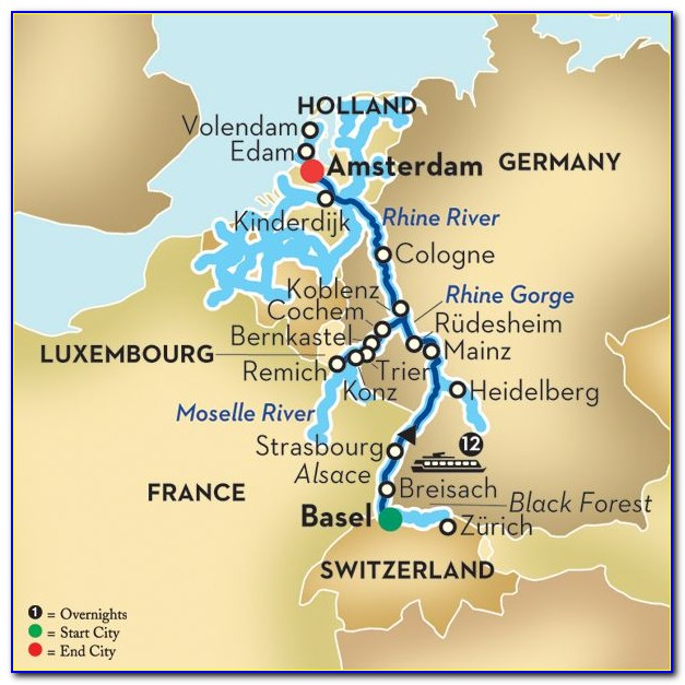Rhine River Cruise Route Map