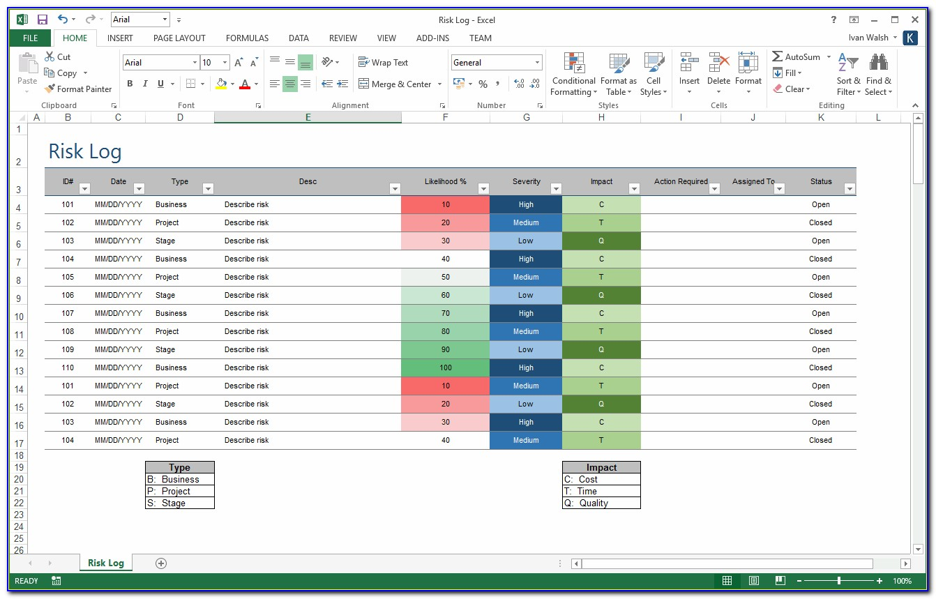 Risk Management Template Excel Free