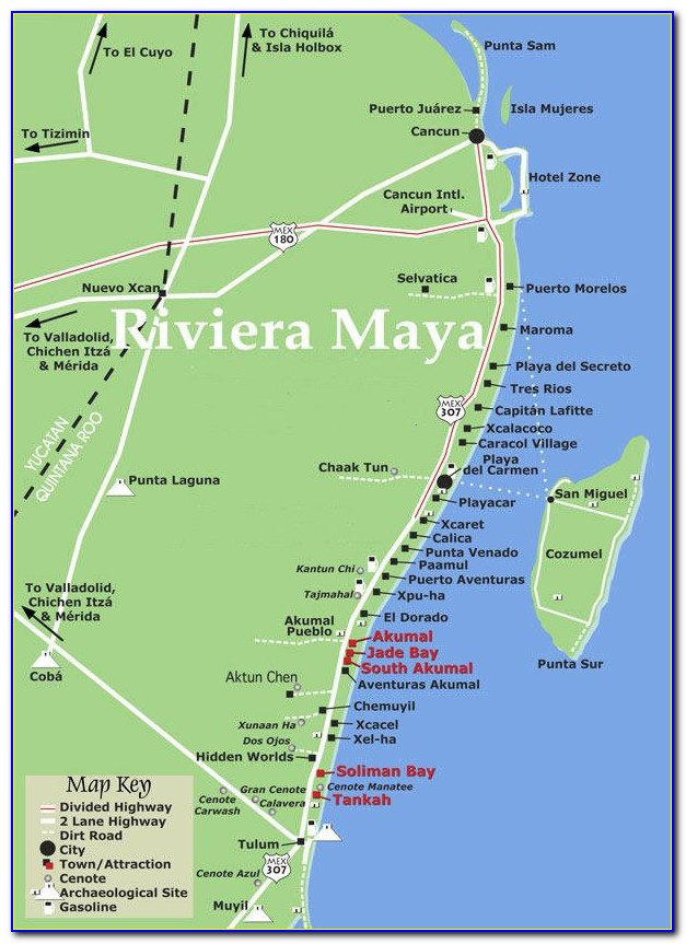 Riviera Maya All Inclusive Resorts Map