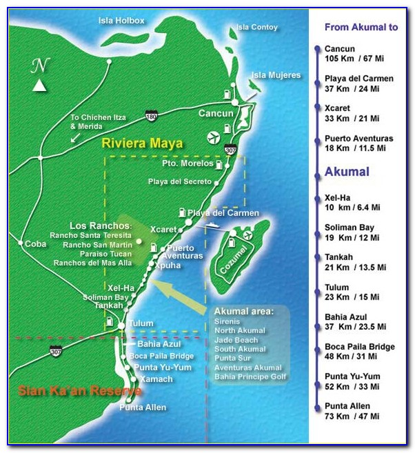 Riviera Maya Hotel Zone Map