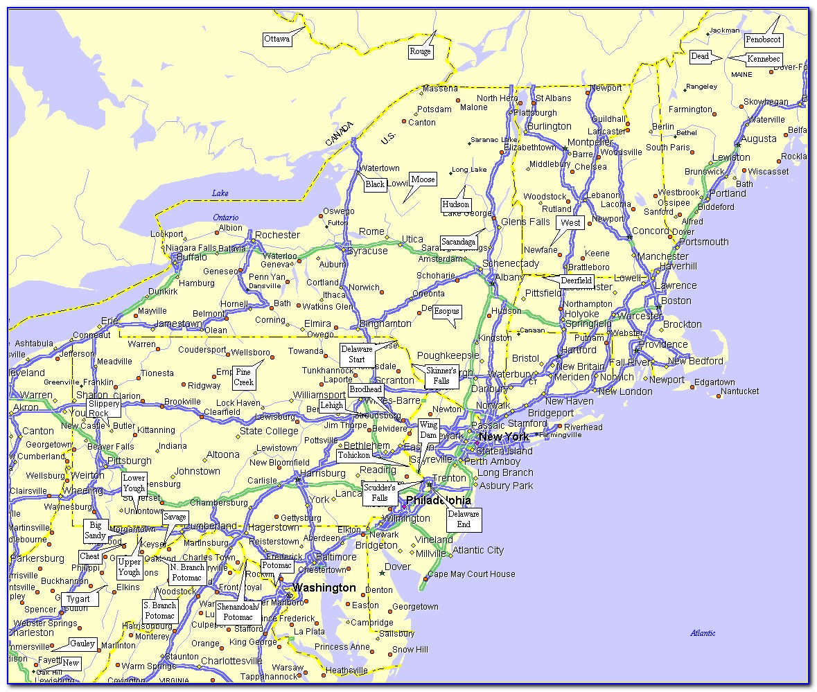 Road Map Of Northeast Us States