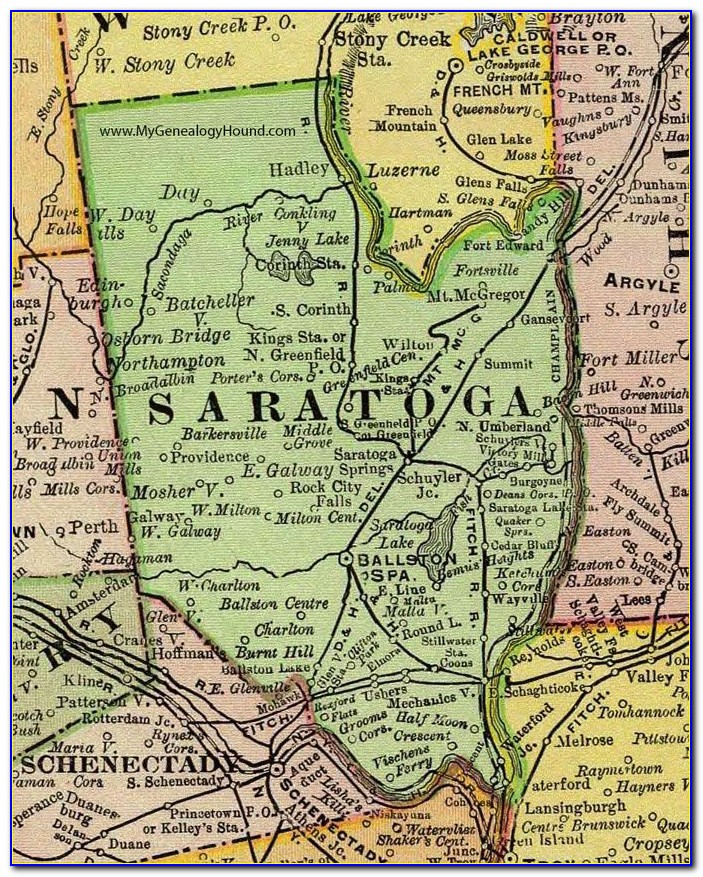 Road Map Of Saratoga County Ny