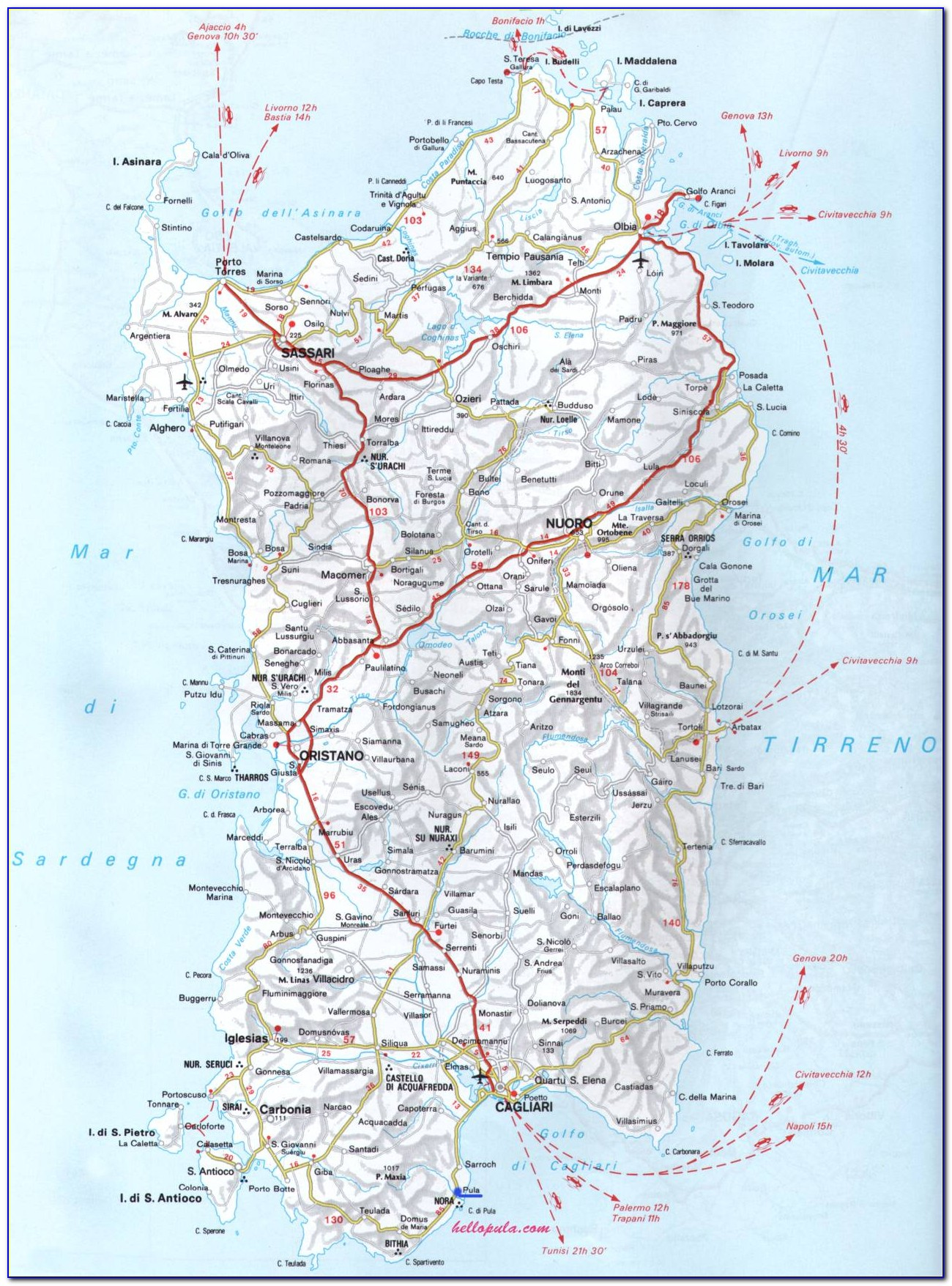 Road Map Of Sardinia Pdf