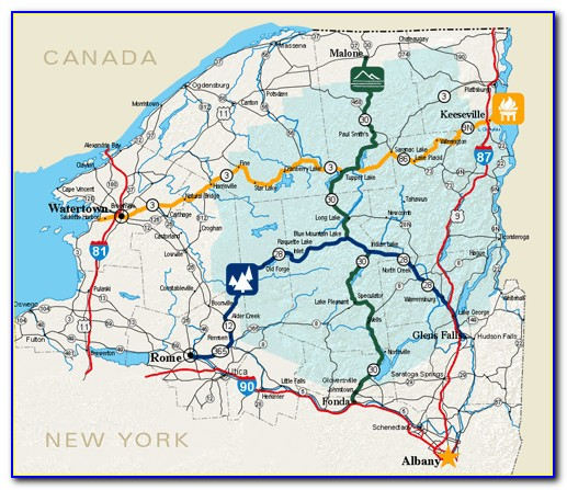Road Map Of The Adirondacks