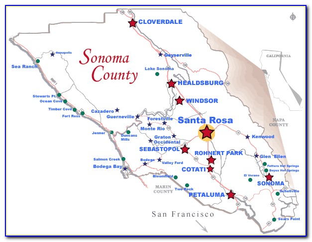 Road Map Sonoma County Ca