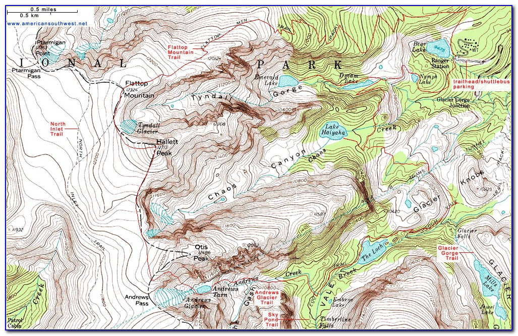 Rocky Mountain National Park Topo Map