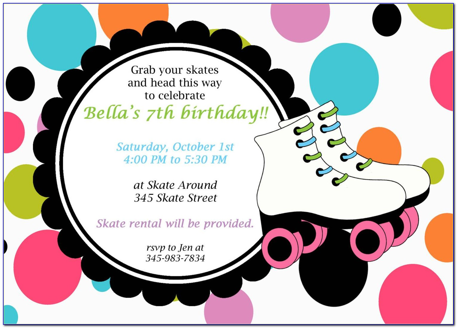 Roller Skating Birthday Party Invitation Template Free