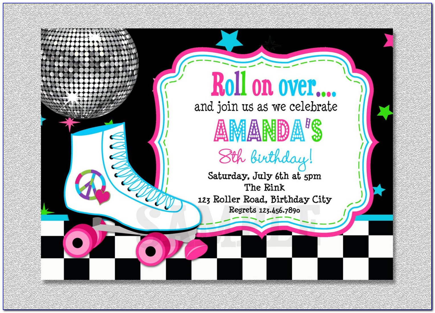 Roller Skating Party Invitations Template Free