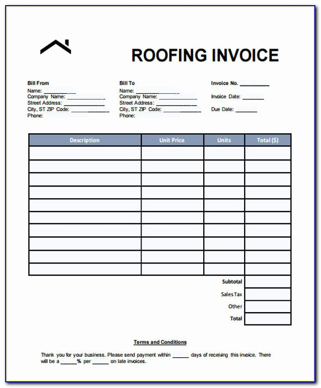 Roofing Invoice Example And 6 Roofing Invoice Templates ? Free Sample Example