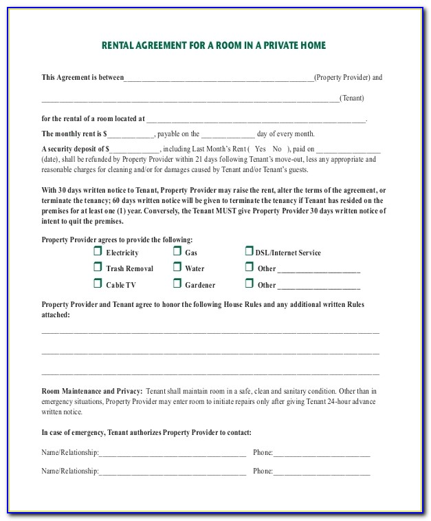 Room For Rent Rental Agreement Forms