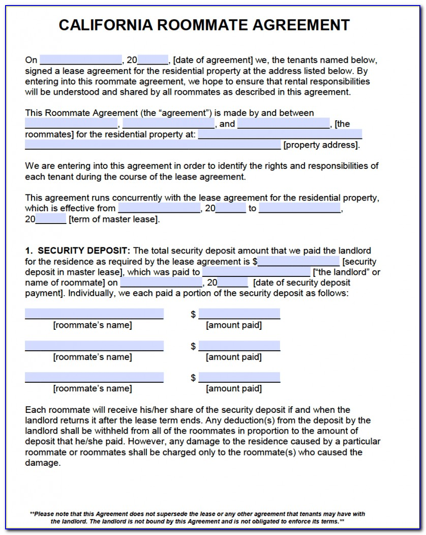 Room Rental Agreement Form California