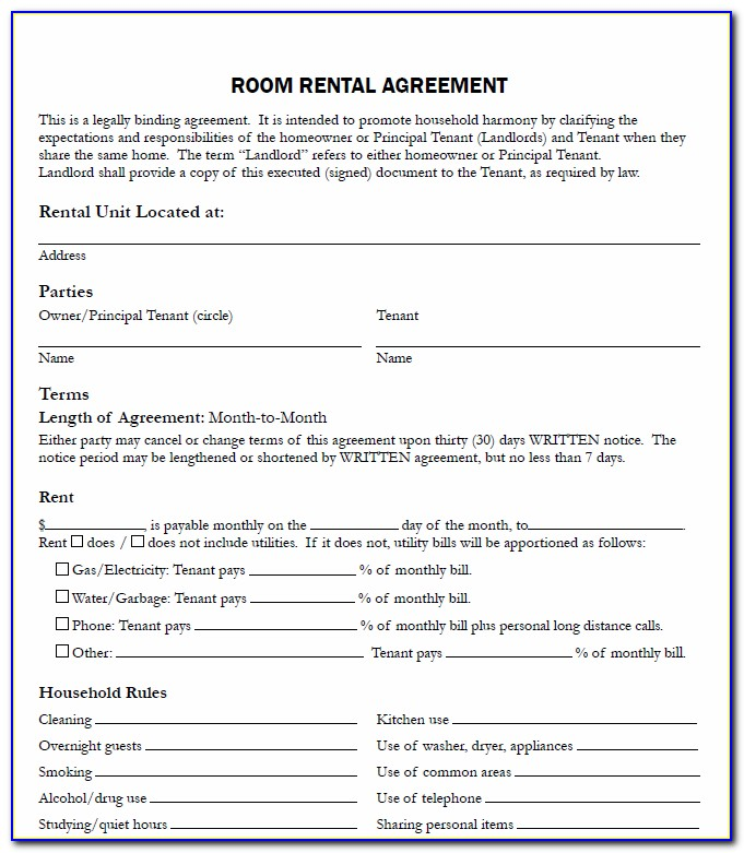 Room Rental Agreement Form Free Alberta