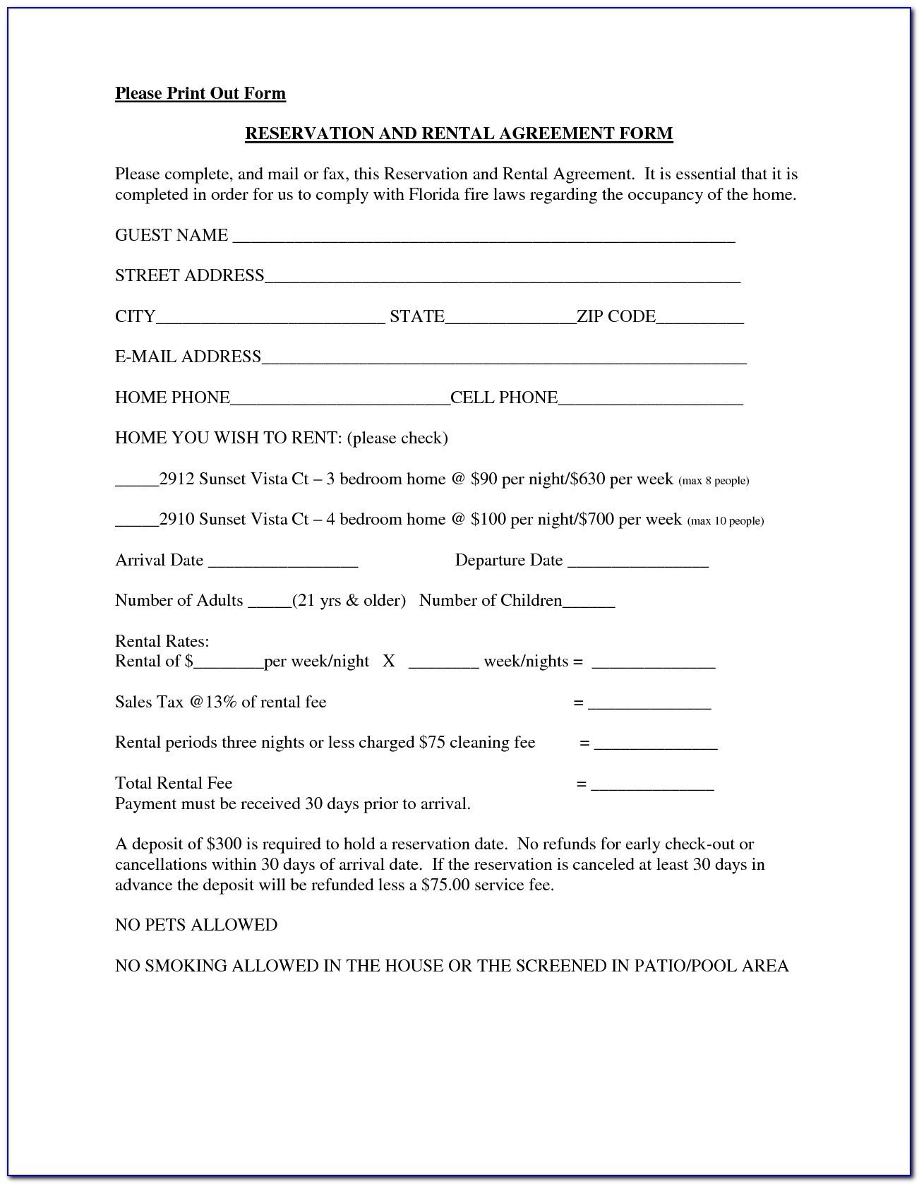 Room Rental Agreement Form Free