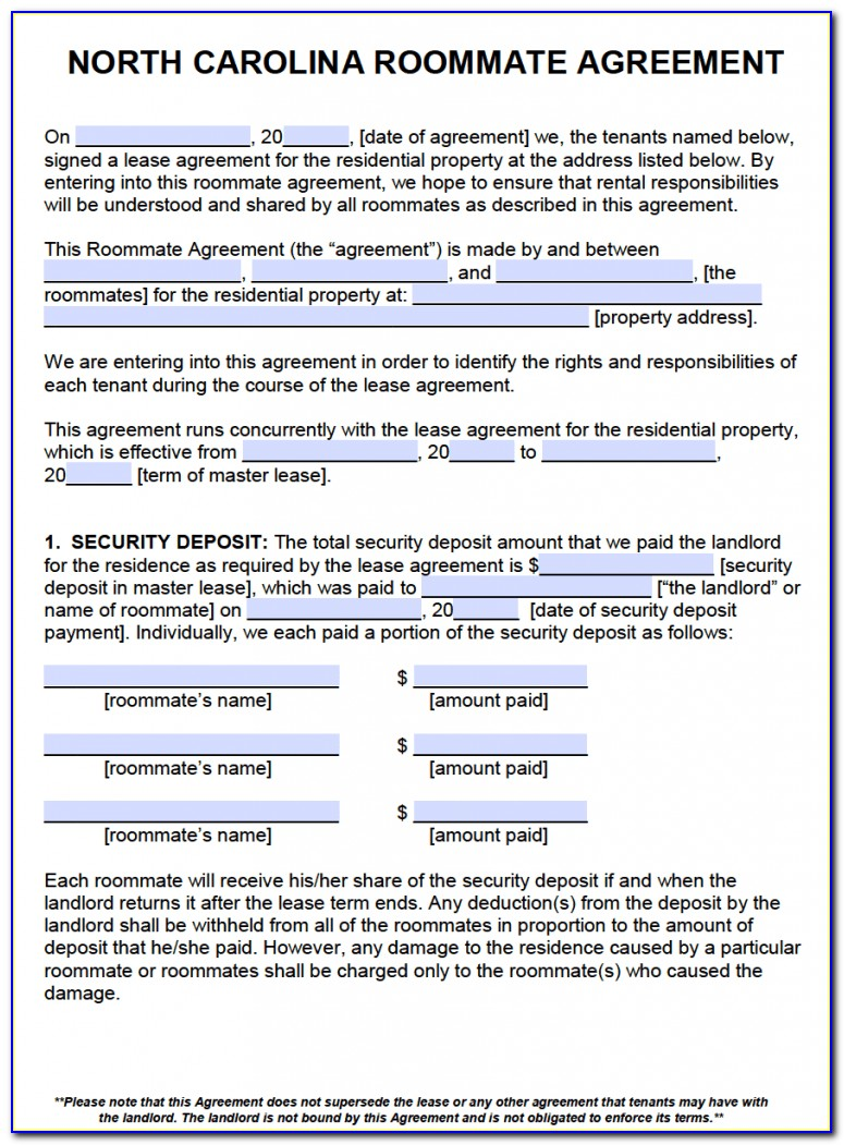 Room Rental Agreement Form North Carolina