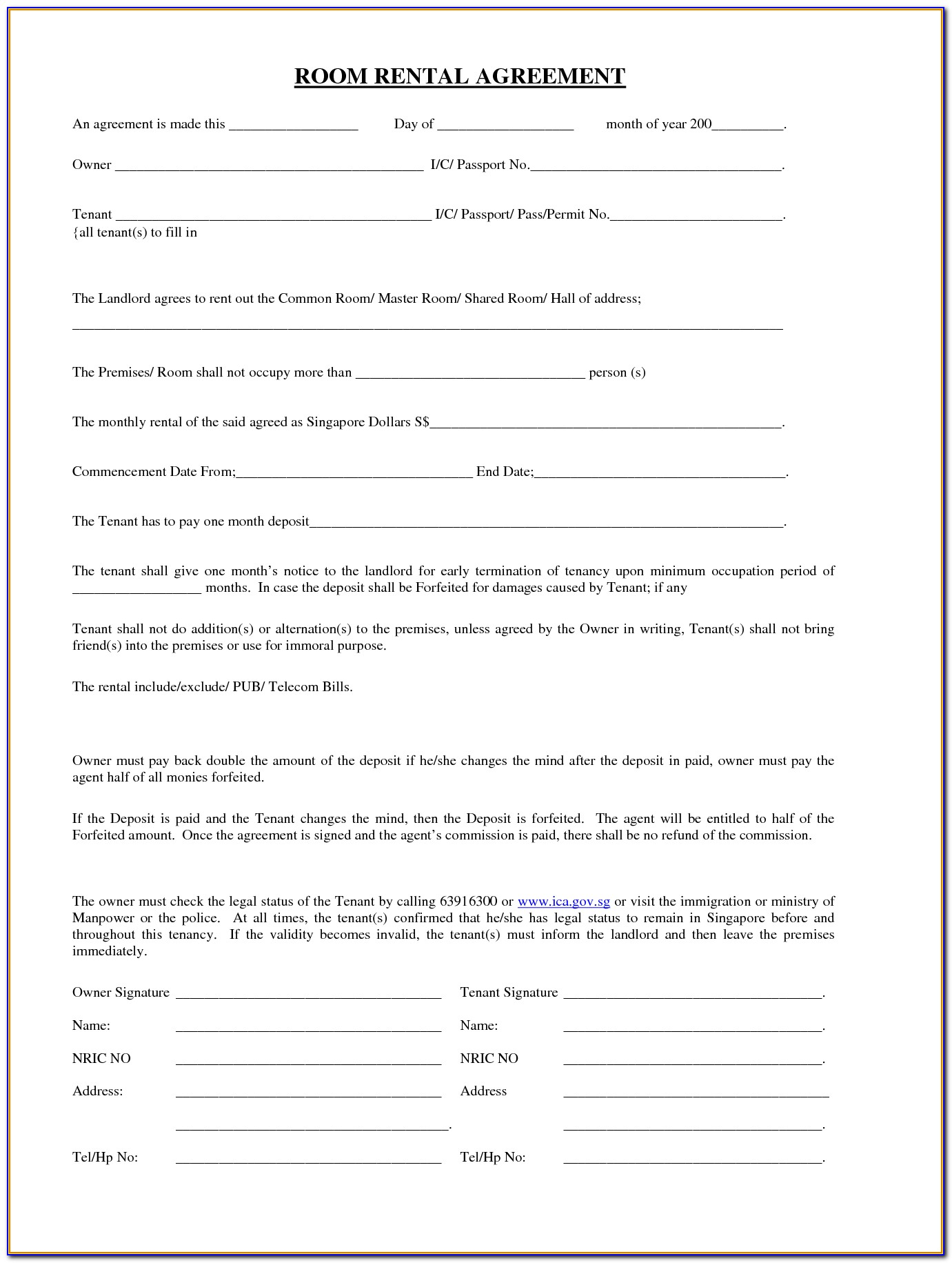 Room Rental Agreement Form Texas Free