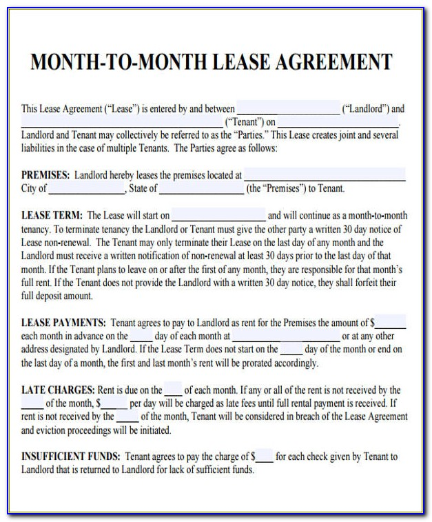 Room Rental Agreement Month To Month Template
