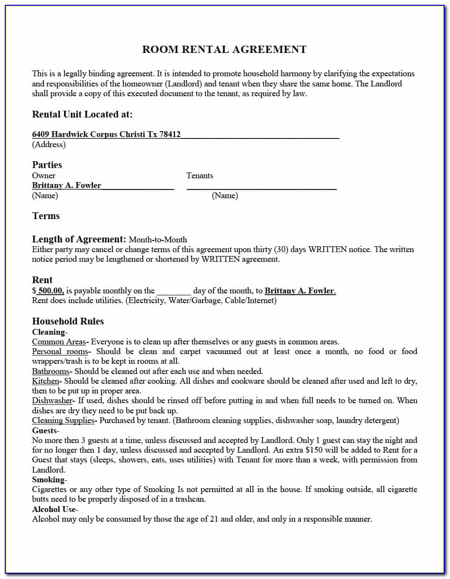 Room Rental Agreement Template Uk Free