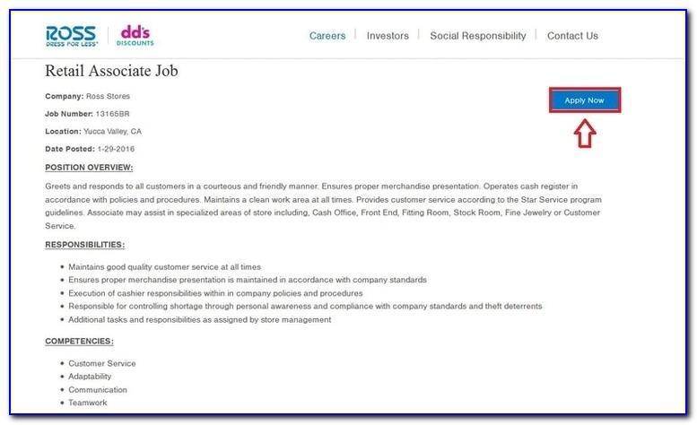 Ross Clothing Store Online Job Application