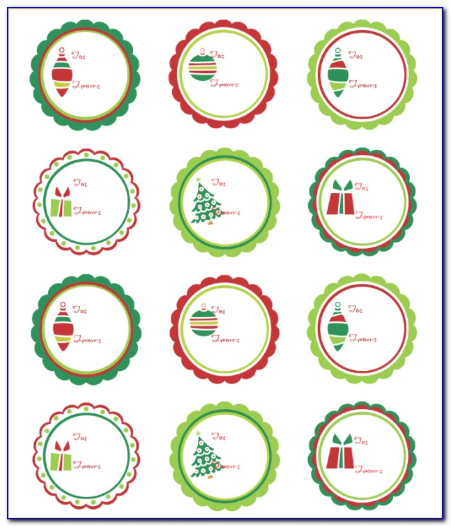 Round Christmas Label Templates