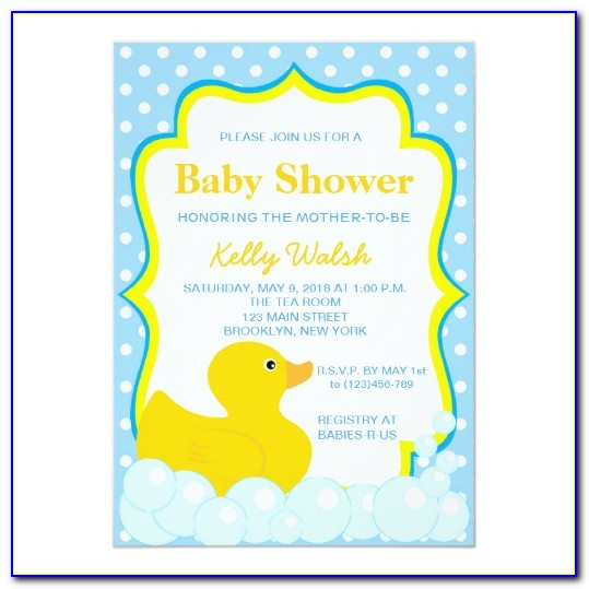 Rubber Ducky Baby Shower Invitations Template