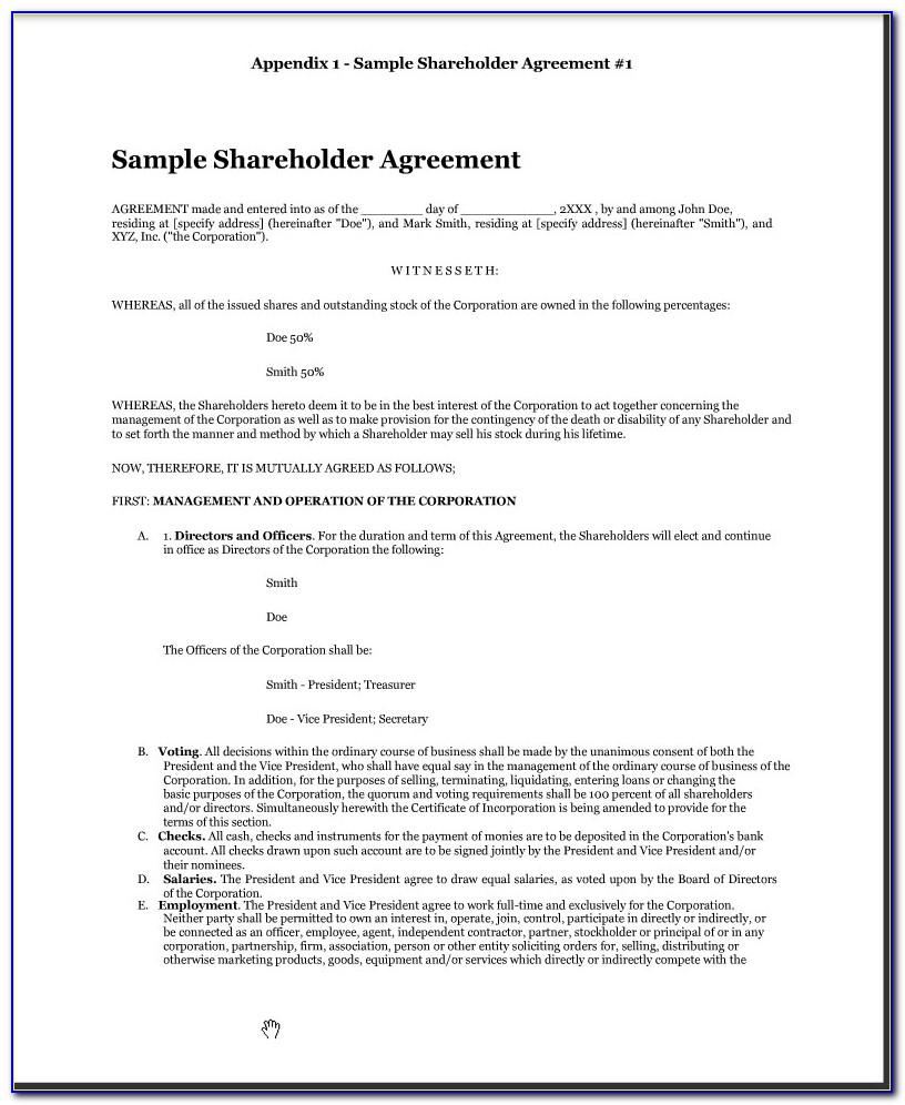 S Corporation Shareholders Agreement Template