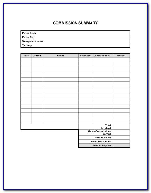 Sales Commission Invoice Template Free