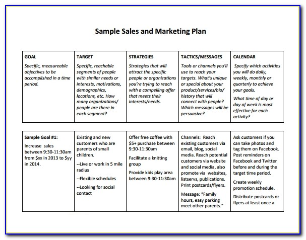 Sales Plan Template Doc Vincegray2014