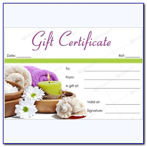Salon Gift Certificate Template Word