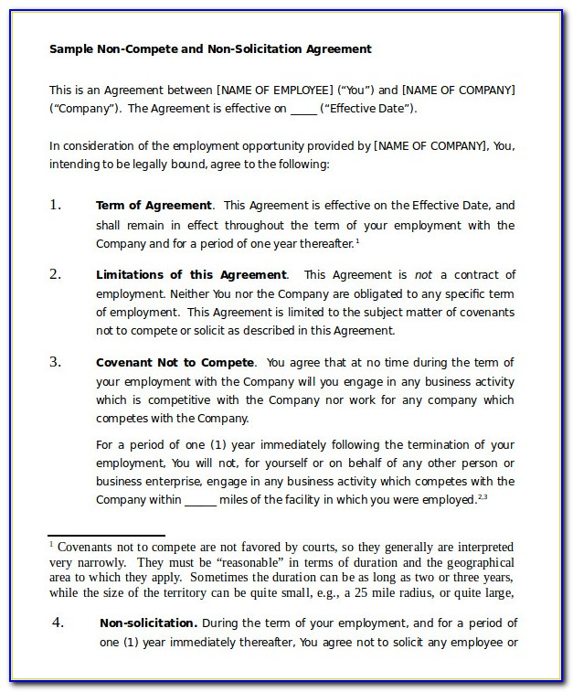 Sampel Non Solicitation Agreement Template