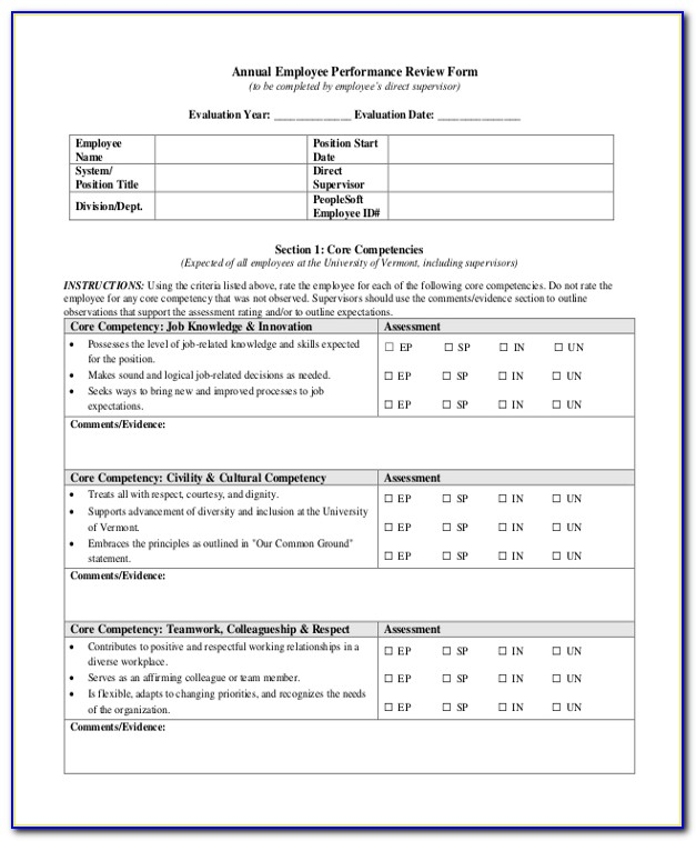 Sample Annual Performance Evaluation Form