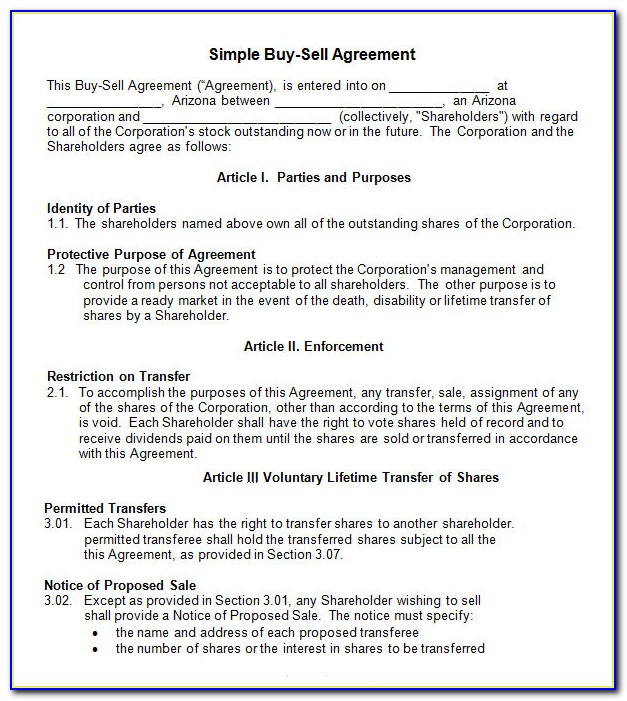 Sample Buy Sell Agreement Template