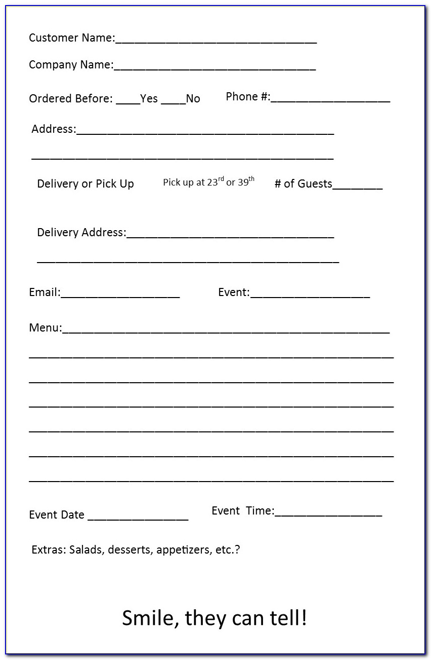 Sample Catering Order Forms Template