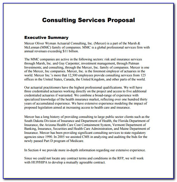 Sample Consulting Project Proposal Template