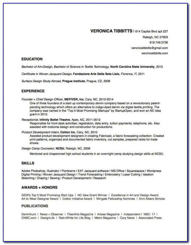 Sample Copy Of Resume Format