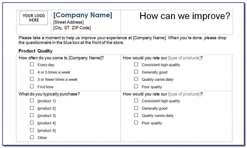 Sample Customer Survey Templates