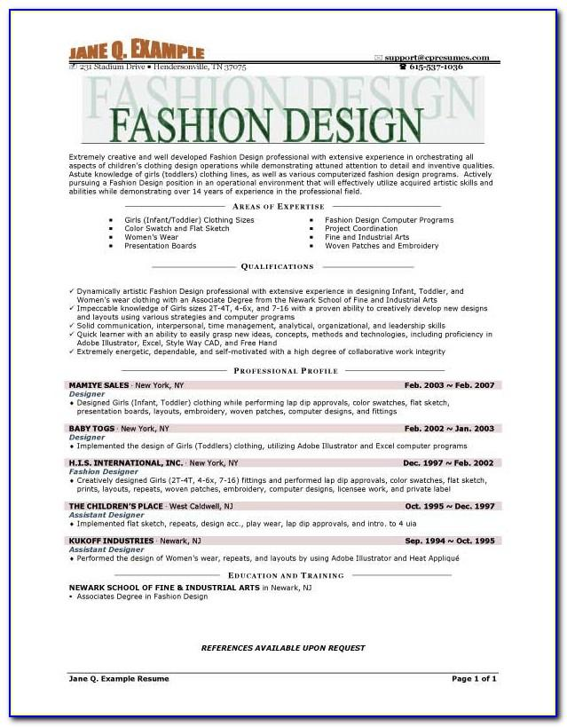 Fashion Resume Templates Vincegray2014