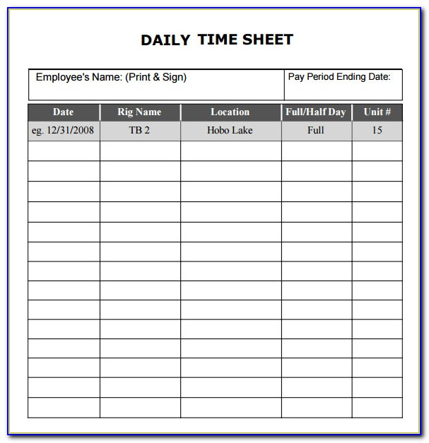 Sample Daily Time Sheet Form
