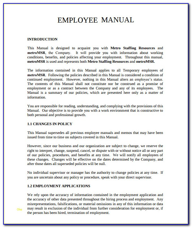 Free Employee Handbook Template For Small Business Elegant Small Business Employee Handbook Template Free 28 Images