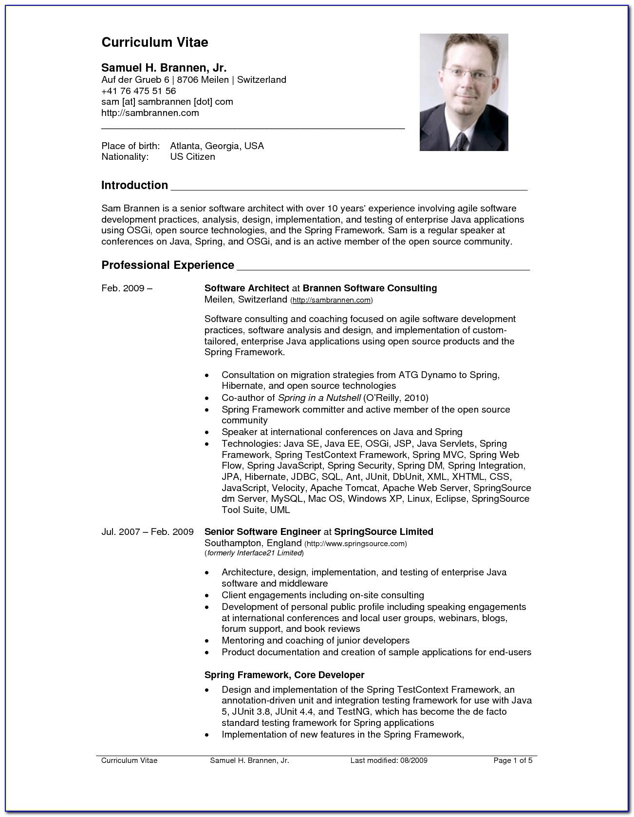 Sample Example Of Curriculum Vitae