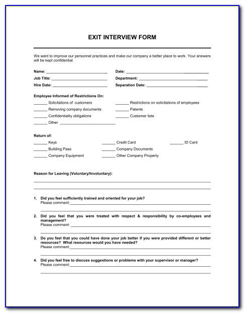 Exit Interview Form Template Sample Form Biztree Interview Sheet Template Interview Sheet Template