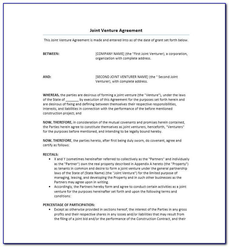 Sample Joint Venture Agreement For Construction