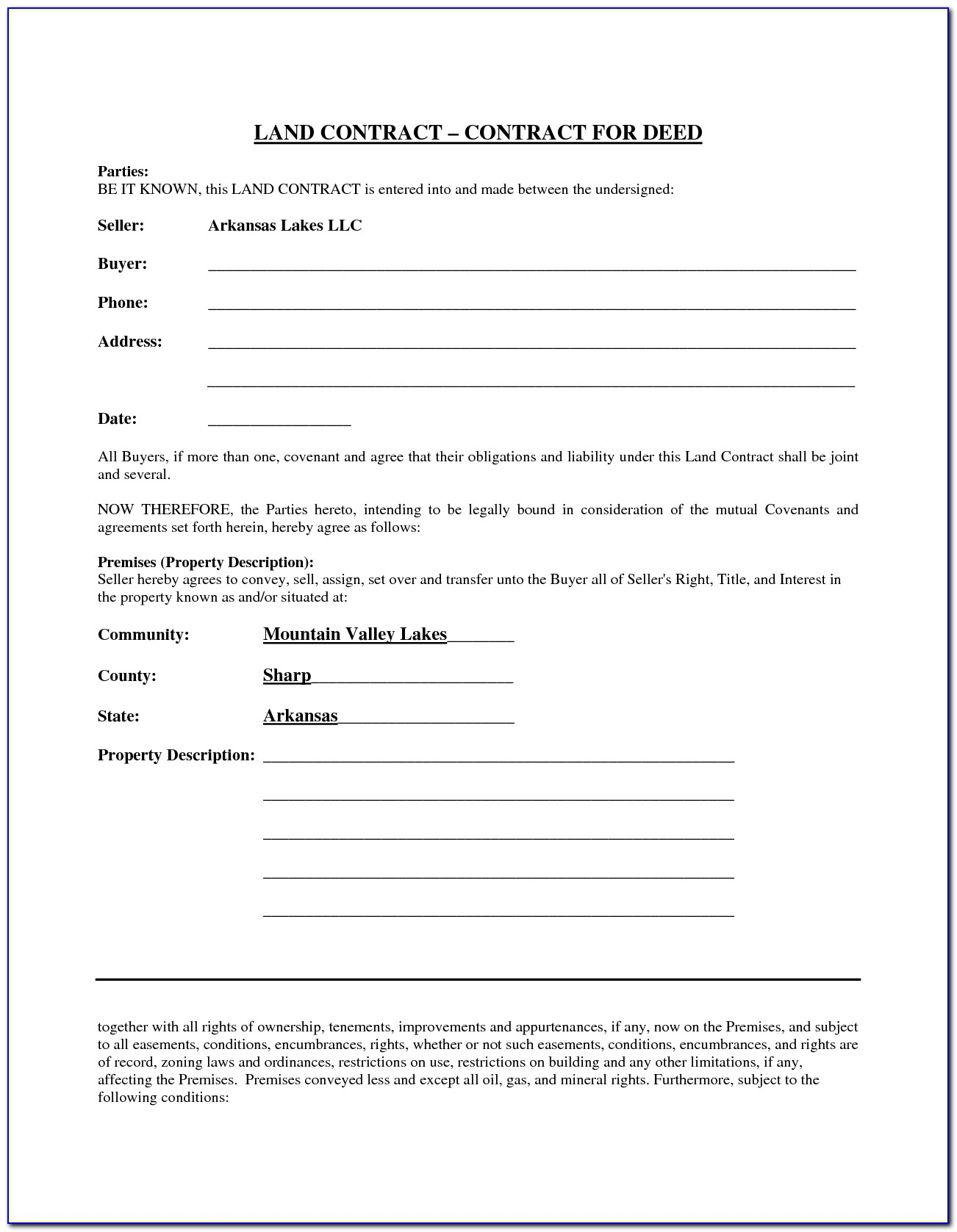 Sample Land Contract Forms Ohio