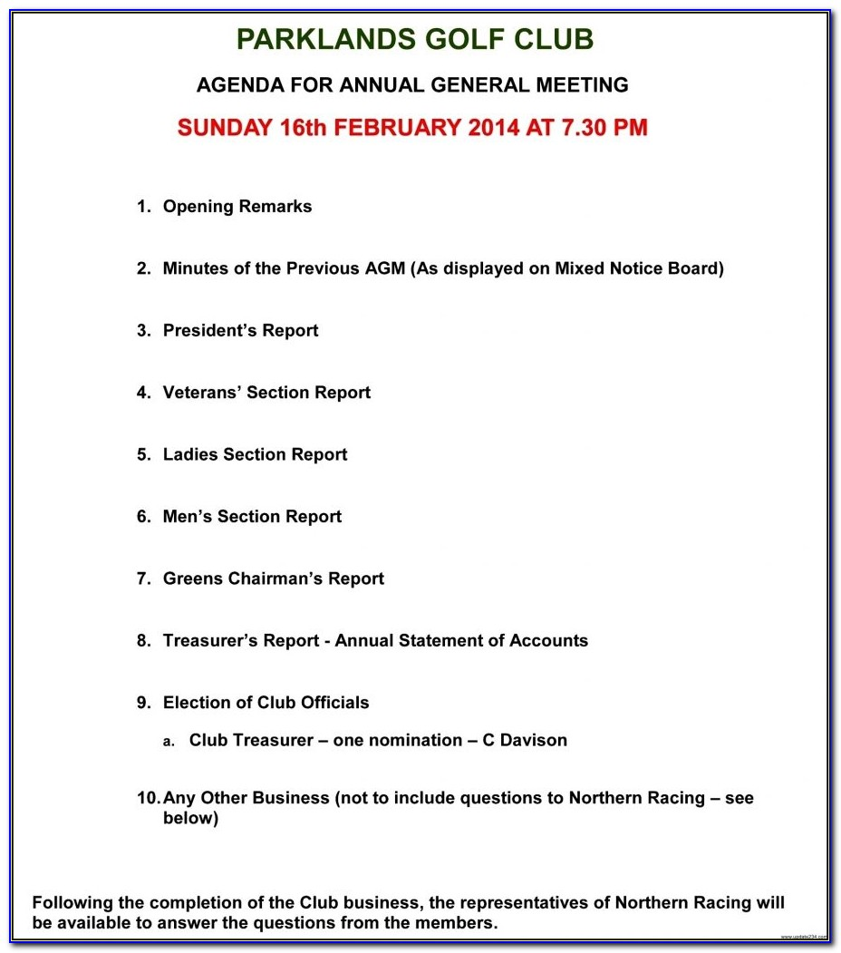 Sample Minutes Of Annual General Meeting