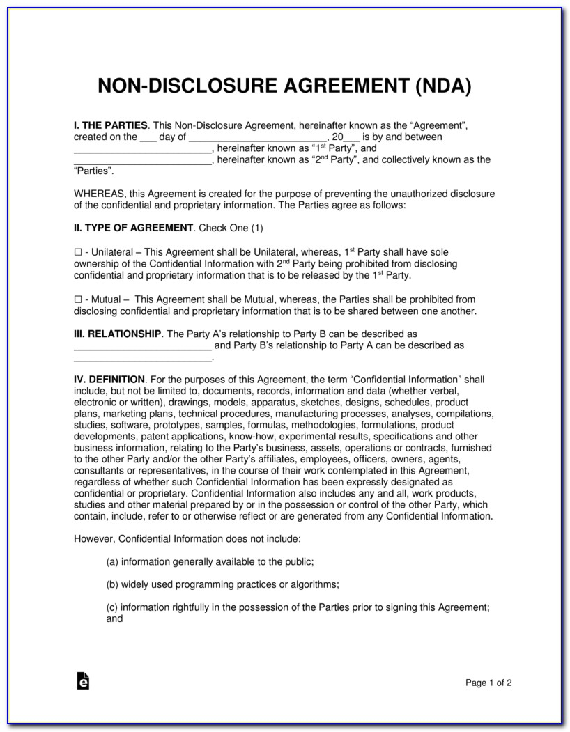 Sample Non Disclosure Agreement Template Nda Confidentiality Agreement Template