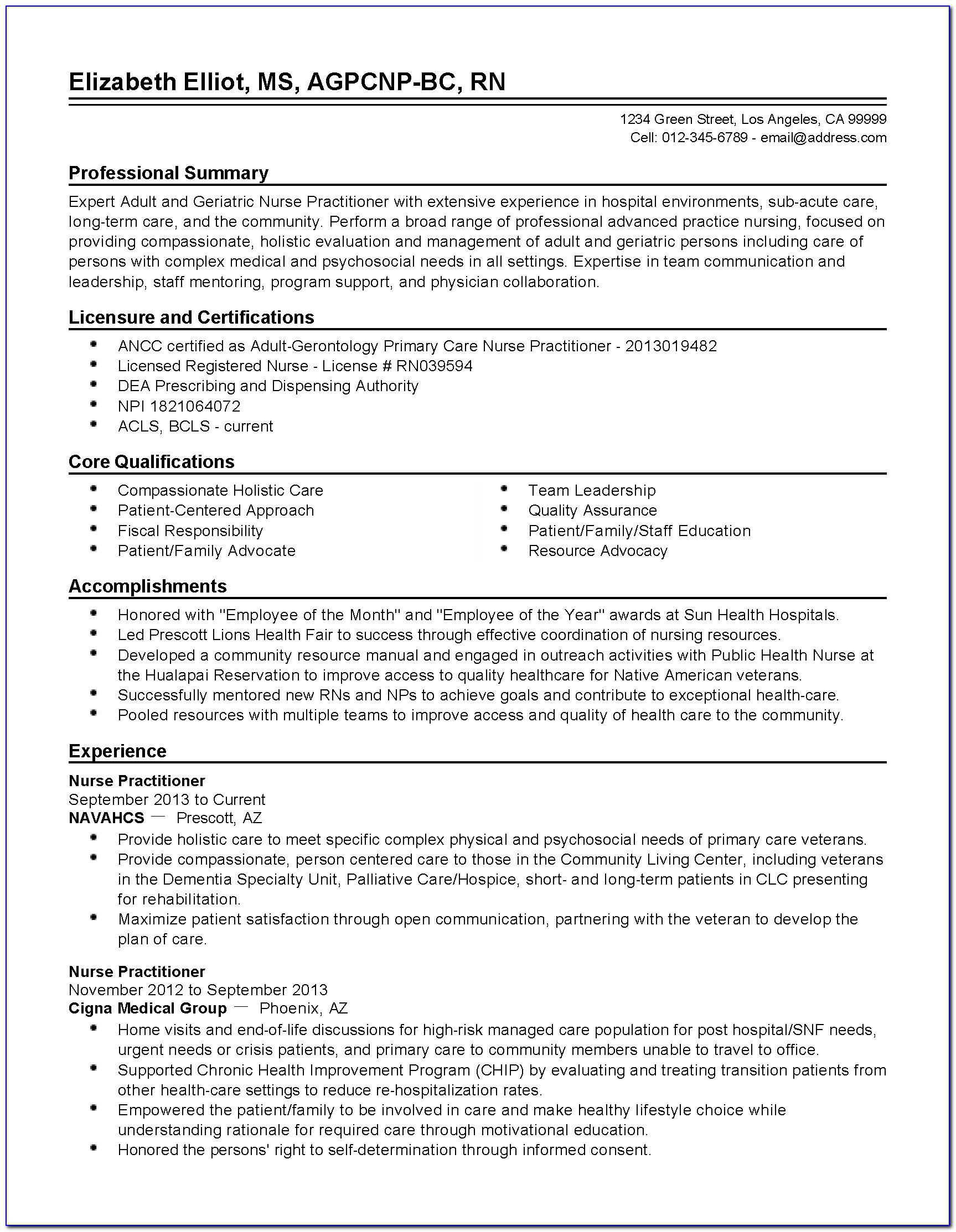 Sample Nurse Practitioner Curriculum Vitae Template